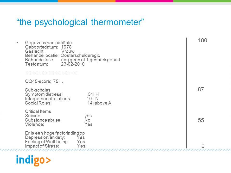 the psychological thermometer Gegevens van patiënte Geboortedatum: 1978 Geslacht: Vrouw Behandellocatie: Oosterschelderegio Behandelfase: nog geen of 1 gesprek gehad Testdatum: 23-02-2010 ------------------------------------ OQ45-score: 75..