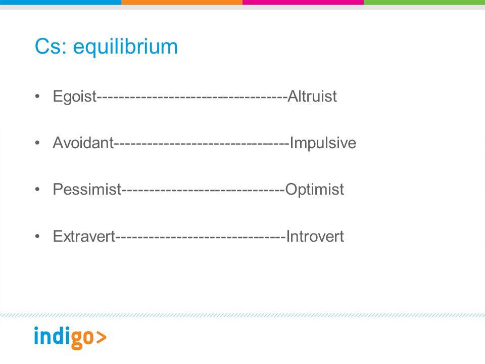 Cs: equilibrium Egoist-----------------------------------Altruist Avoidant--------------------------------Impulsive Pessimist------------------------------Optimist Extravert-------------------------------Introvert