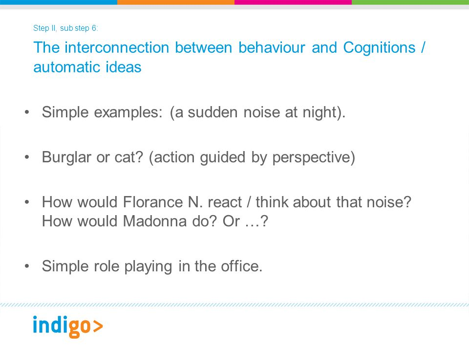 Step II, sub step 6: The interconnection between behaviour and Cognitions / automatic ideas Simple examples: (a sudden noise at night).