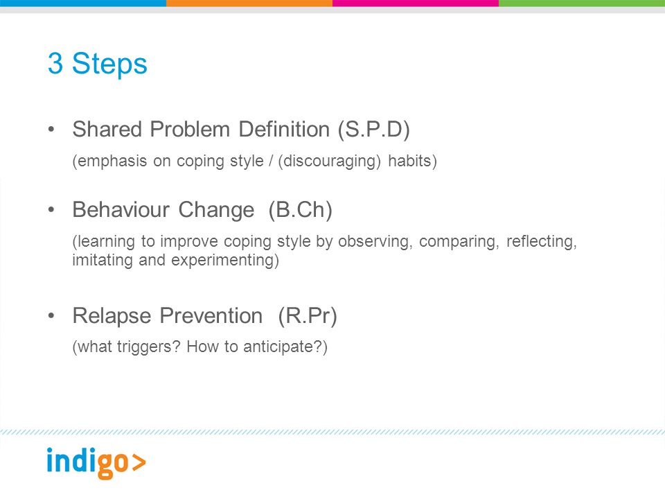3 Steps Shared Problem Definition (S.P.D) (emphasis on coping style / (discouraging) habits) Behaviour Change (B.Ch) (learning to improve coping style by observing, comparing, reflecting, imitating and experimenting) Relapse Prevention (R.Pr) (what triggers.