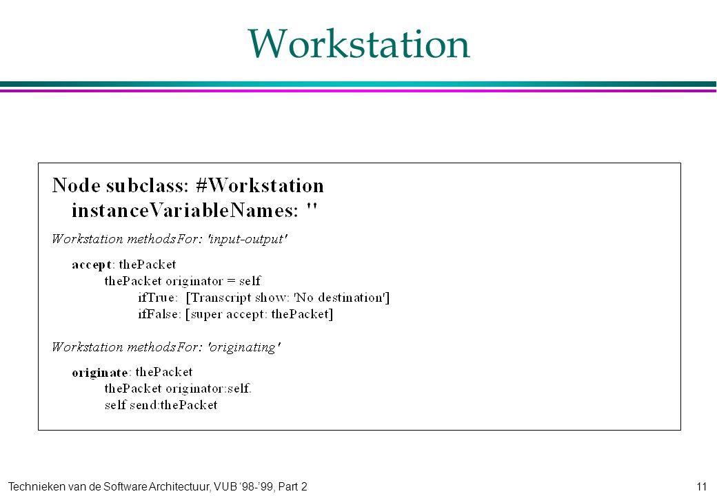 Technieken van de Software Architectuur, VUB '98-'99, Part 211 Workstation