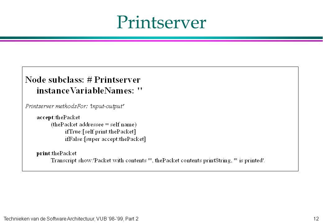 Technieken van de Software Architectuur, VUB '98-'99, Part 212 Printserver