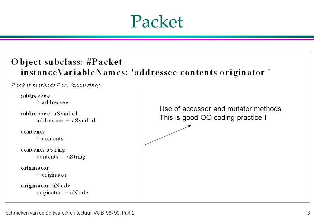 Technieken van de Software Architectuur, VUB '98-'99, Part 213 Packet Use of accessor and mutator methods.