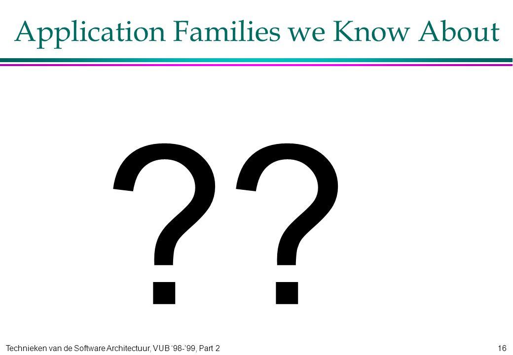Technieken van de Software Architectuur, VUB '98-'99, Part 216 Application Families we Know About ??