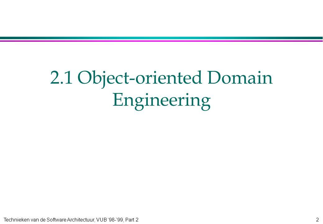 Technieken van de Software Architectuur, VUB '98-'99, Part 22 2.1 Object-oriented Domain Engineering