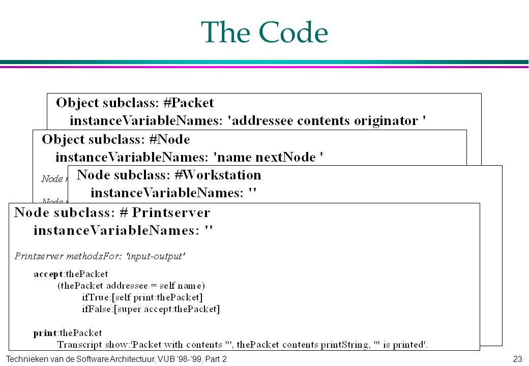 Technieken van de Software Architectuur, VUB '98-'99, Part 223 The Code