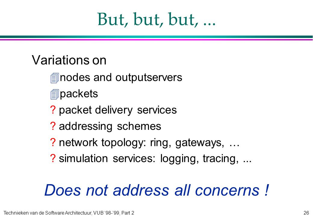 Technieken van de Software Architectuur, VUB '98-'99, Part 226 But, but, but,...