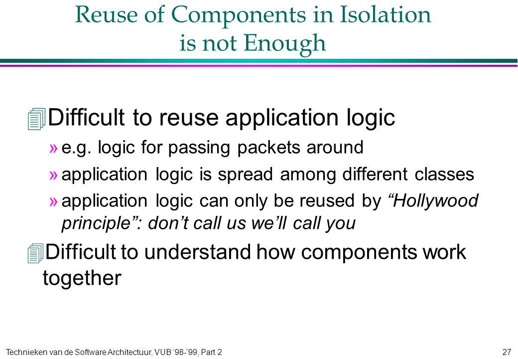 Technieken van de Software Architectuur, VUB '98-'99, Part 227 Reuse of Components in Isolation is not Enough 4Difficult to reuse application logic »e.g.