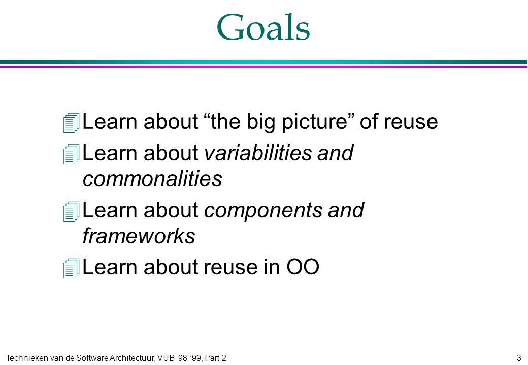 Technieken van de Software Architectuur, VUB '98-'99, Part 23 Goals 4Learn about the big picture of reuse 4Learn about variabilities and commonalities 4Learn about components and frameworks 4Learn about reuse in OO