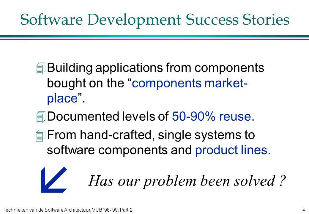 Technieken van de Software Architectuur, VUB '98-'99, Part 24 Software Development Success Stories 4Building applications from components bought on the components market- place .