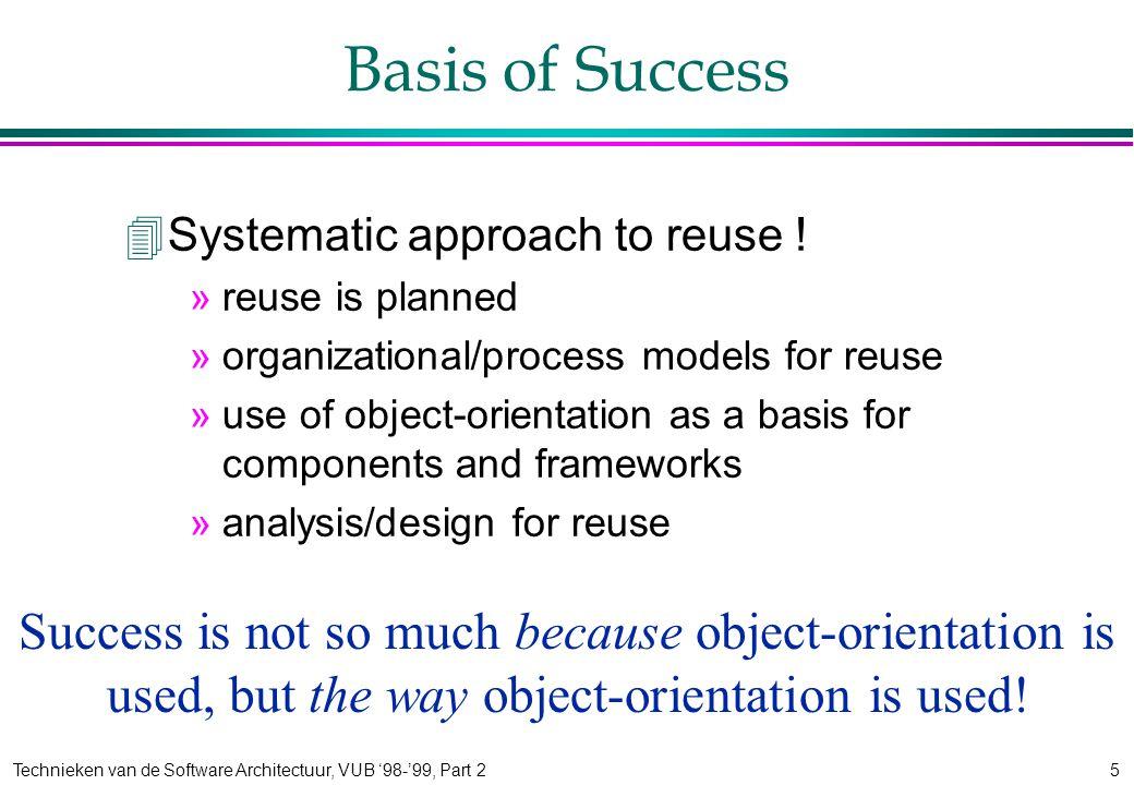 Technieken van de Software Architectuur, VUB '98-'99, Part 25 Basis of Success 4Systematic approach to reuse .