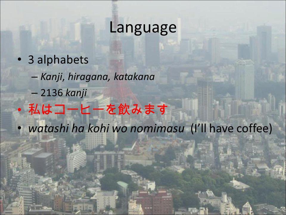 Language 3 alphabets – Kanji, hiragana, katakana – 2136 kanji 私はコーヒーを飲みます watashi ha kohi wo nomimasu (I'll have coffee)