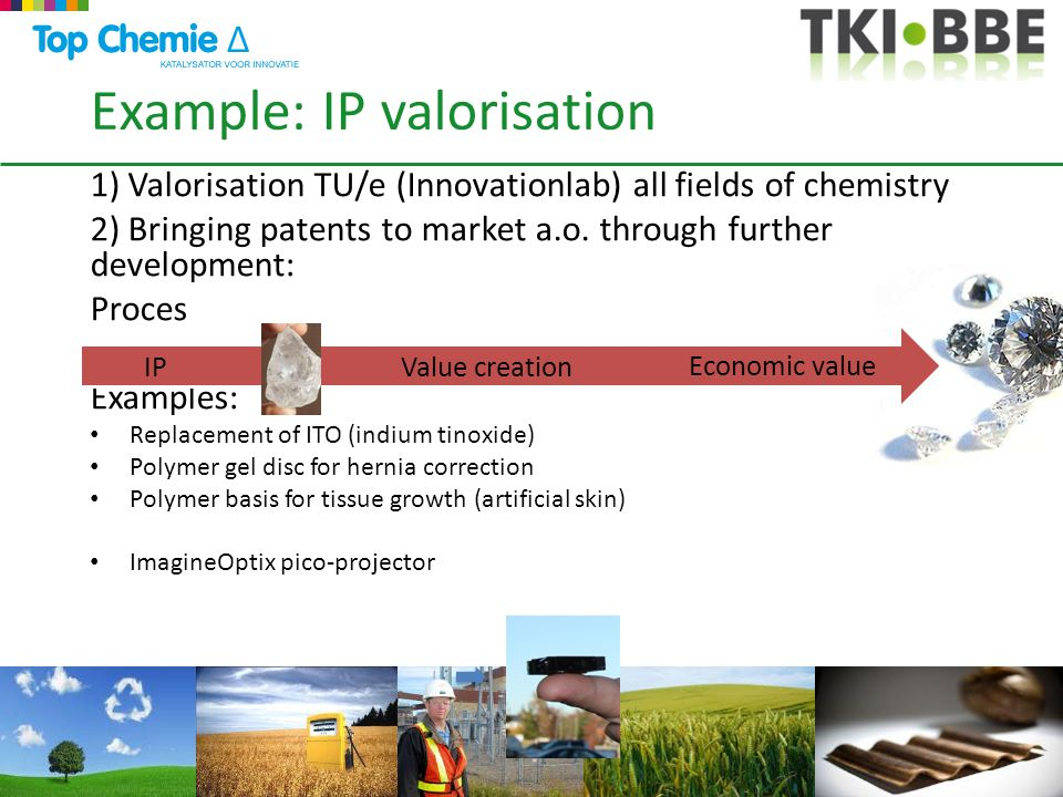 Example: IP valorisation 1) Valorisation TU/e (Innovationlab) all fields of chemistry 2) Bringing patents to market a.o. through further development: