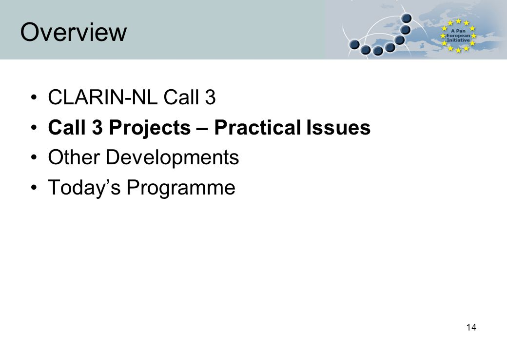 14 Overview CLARIN-NL Call 3 Call 3 Projects – Practical Issues Other Developments Today's Programme