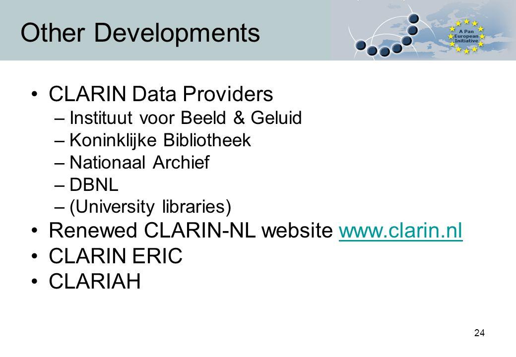 24 Other Developments CLARIN Data Providers –Instituut voor Beeld & Geluid –Koninklijke Bibliotheek –Nationaal Archief –DBNL –(University libraries) Renewed CLARIN-NL website www.clarin.nlwww.clarin.nl CLARIN ERIC CLARIAH