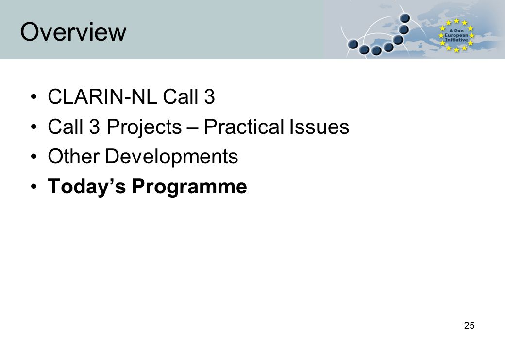 25 Overview CLARIN-NL Call 3 Call 3 Projects – Practical Issues Other Developments Today's Programme