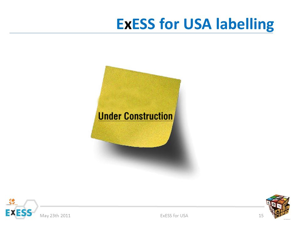 May 23th 2011ExESS for USA15 ExESS for USA labelling