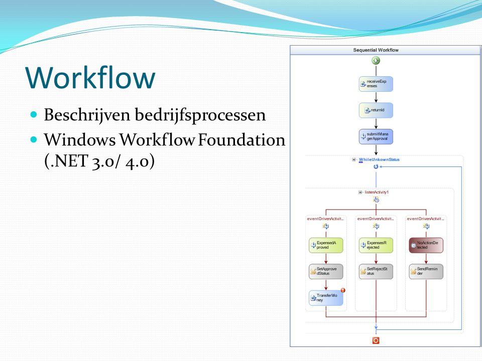 Workflow Beschrijven bedrijfsprocessen Windows Workflow Foundation (.NET 3.0/ 4.0)