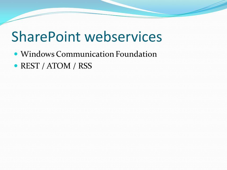 SharePoint webservices Windows Communication Foundation REST / ATOM / RSS