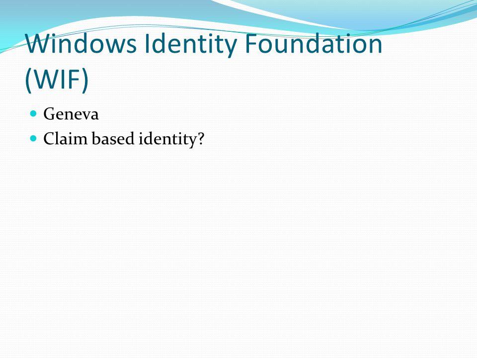 Windows Identity Foundation (WIF) Geneva Claim based identity?