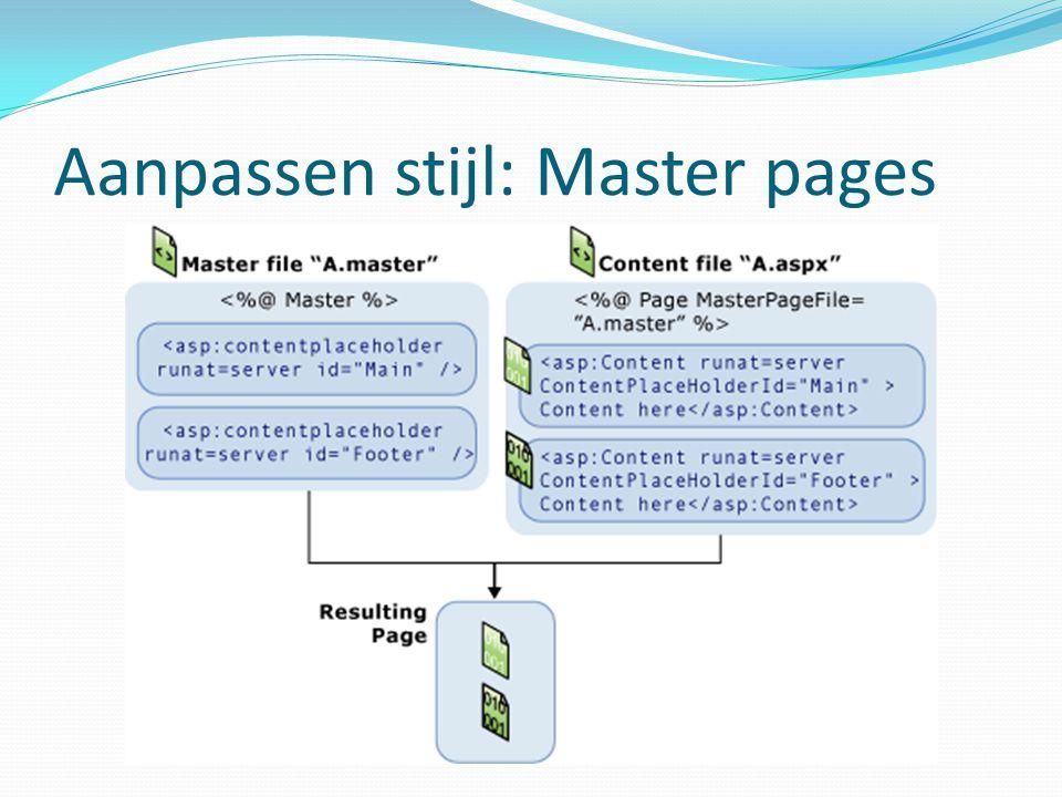 Aanpassen stijl: Master pages