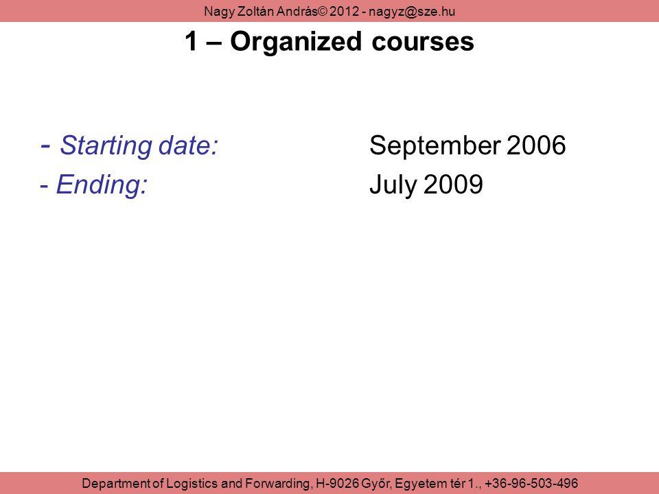 Nagy Zoltán András© 2012 - nagyz@sze.hu Department of Logistics and Forwarding, H-9026 Győr, Egyetem tér 1., +36-96-503-496 1 – Organized courses - Starting date:September 2006 - Ending:July 2009