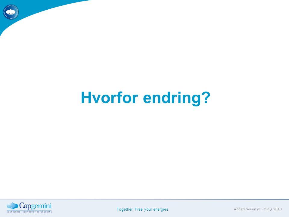 Together. Free your energies Anders Sveen @ Smidig 2010 Hvorfor endring?