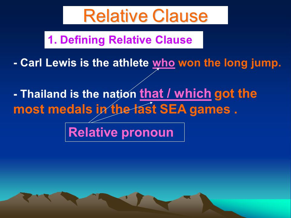 Relative Clause 1. Defining Relative Clause - Carl Lewis is the athlete who won the long jump.