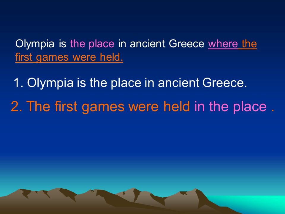 Olympia is the place in ancient Greece where the first games were held.
