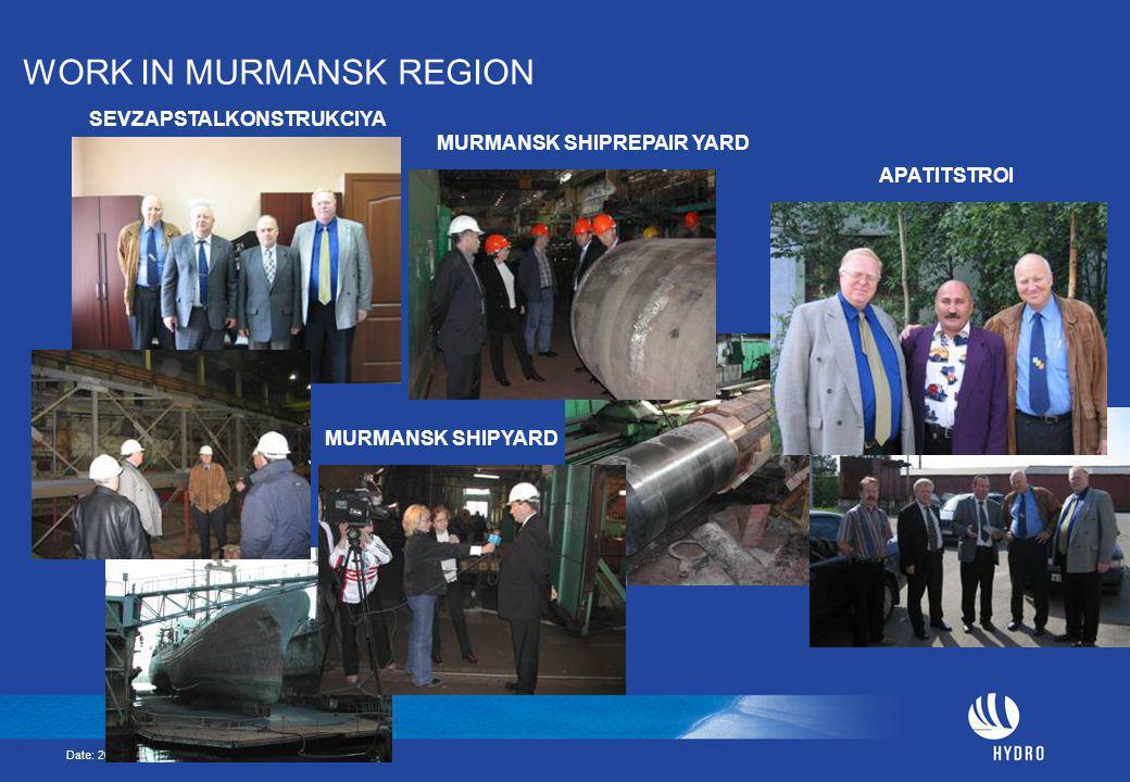 Date: 2005-05-23 Page: 21 WORK IN MURMANSK REGION SEVZAPSTALKONSTRUKCIYA APATITSTROI MURMANSK SHIPYARD MURMANSK SHIPREPAIR YARD