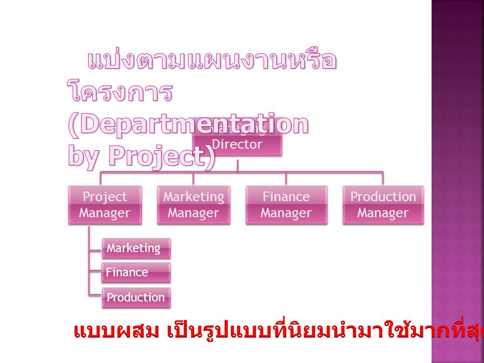 Managing Director Managing Director Marketing Manager Marketing Manager Project Manager Project Manager Finance Manager Finance Manager Production Manager Marketing Finance Production