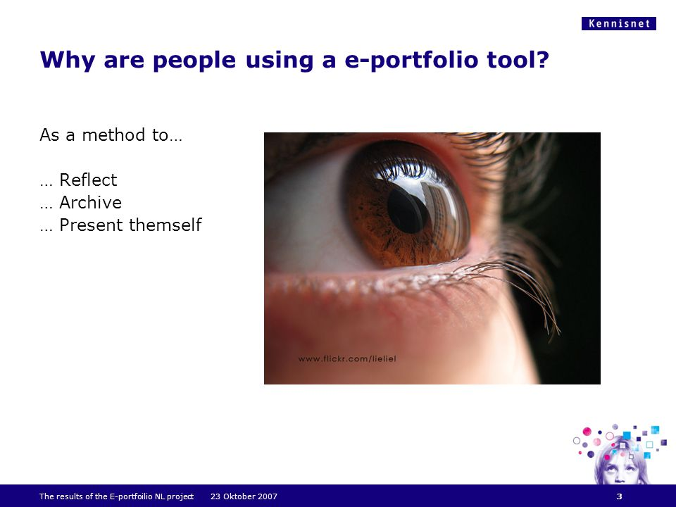Why are people using a e-portfolio tool.