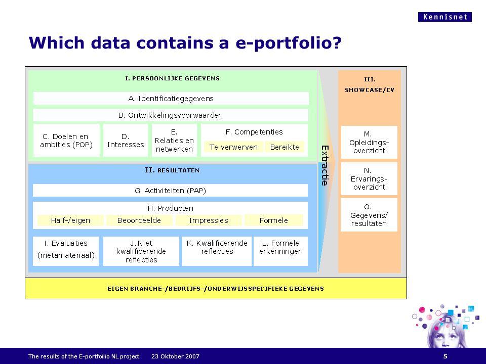 Which data contains a e-portfolio The results of the E-portfoilio NL project 23 Oktober 20075