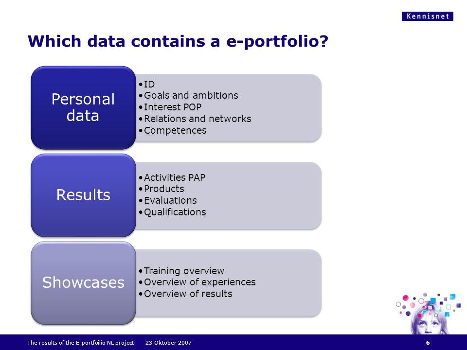 Which data contains a e-portfolio.