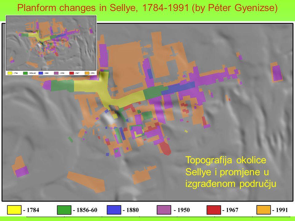 Planform changes in Sellye, 1784-1991 (by Péter Gyenizse) 17841856-601880195019671991 97,1-98m0.0% 98,1-99m0.0%0.8%0.0%0.4% 0.7% 99,1-100m0.9%1.6%3.4%11.4%12.7%31.6% 100,1-101m3.4%19.6%18.8%15.0%14.6%17.2% 101,1-102m23.3% 28.0%29.1%28.2%17.9% 102,1-103m35.5%25.5%23.0%21.6%21.3%17.2% 103,1-104m22.2%18.6%17.3%13.1% 8.7% 104,1-105m5.3%5.0%4.2%4.1%4.5%3.6% 105,1-106m3.8%2.2% 2.4% 1.7% 106,1-107m1.6%0.9%1.0%1.2% 0.6% 107,1-108m0.7%0.5%0.4%0.6%0.5%0.3% 108,1-109m2.4%1.4%1.2%0.8% 0.4% 109,1-110m0.6%0.4%0.3%0.2% 0.1% 110,1-111m0.3%0.2% 0.1% 0.0% Topografija okolice Sellye i promjene u izgrađenom području