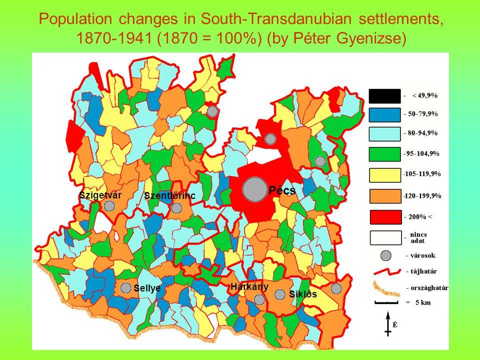 Pécs Sellye Szigetvár Szentlőrinc Siklós Harkány Population changes in South-Transdanubian settlements, 1870-1941 (1870 = 100%) (by Péter Gyenizse)