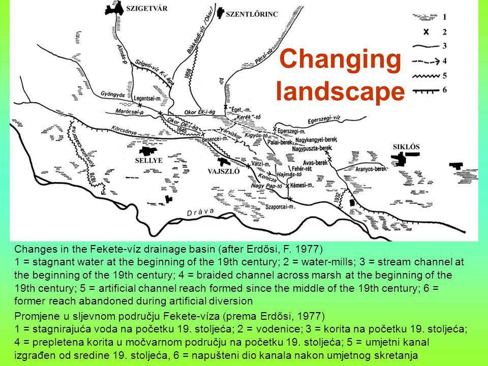 Changing landscape Changes in the Fekete-víz drainage basin (after Erdősi, F.