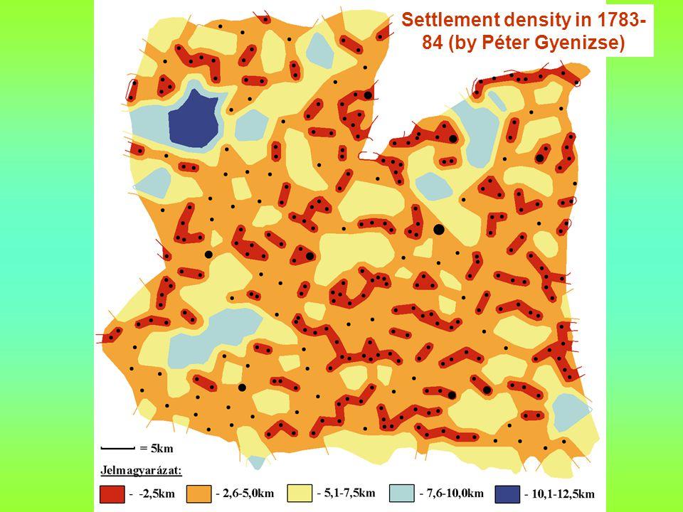 Settlement density in 1783- 84 (by Péter Gyenizse)