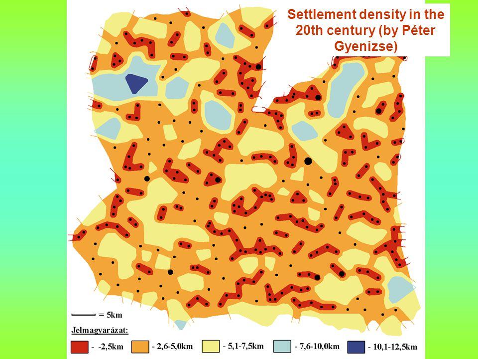 Settlement density in the 20th century (by Péter Gyenizse)