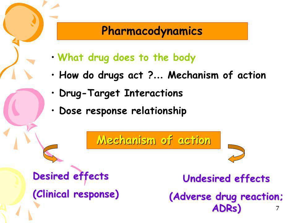 6 Drug - Body Interactions Pharmacodynamics เภสัชพลศาสตร์ What drug does to the body Pharmacokinetics เภสัชจลนศาสตร์ What body does to the drug