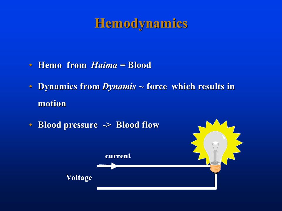 Hemodynamics Hemo from Haima = BloodHemo from Haima = Blood Dynamics from Dynamis ~ force which results in motionDynamics from Dynamis ~ force which results in motion Blood pressure -> Blood flowBlood pressure -> Blood flow Voltage current