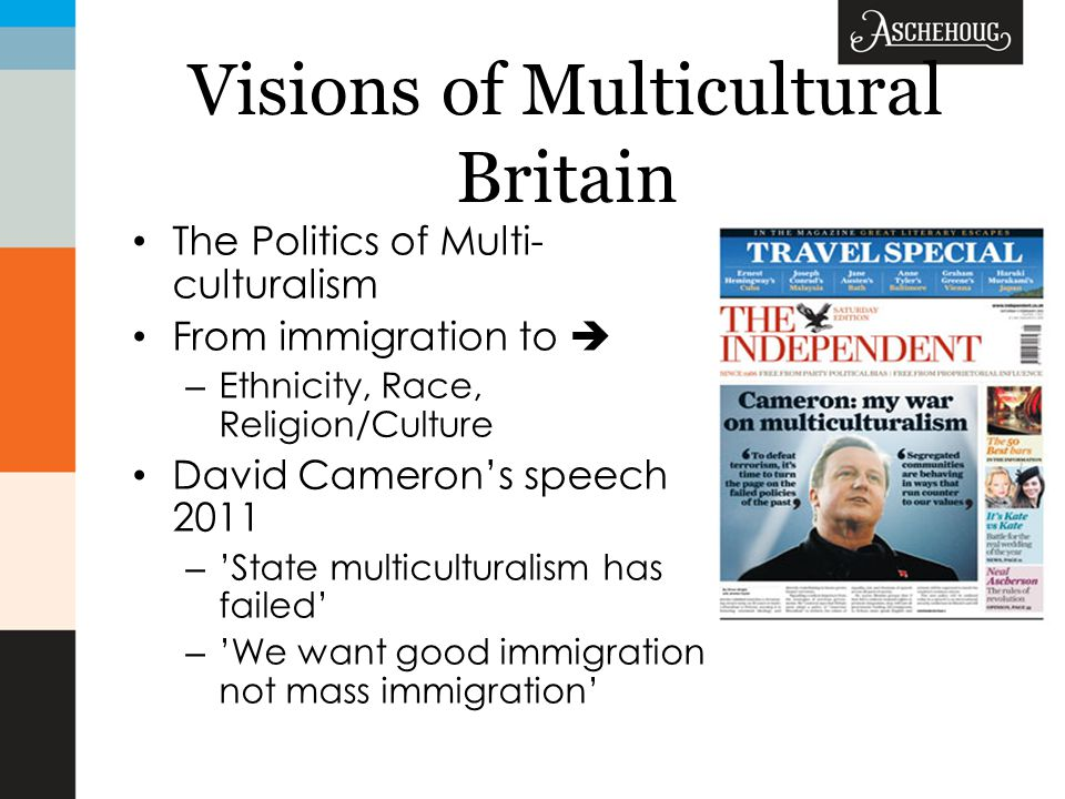 Visions of Multicultural Britain The Politics of Multi- culturalism From immigration to  – Ethnicity, Race, Religion/Culture David Cameron's speech 2011 – 'State multiculturalism has failed' – 'We want good immigration not mass immigration'