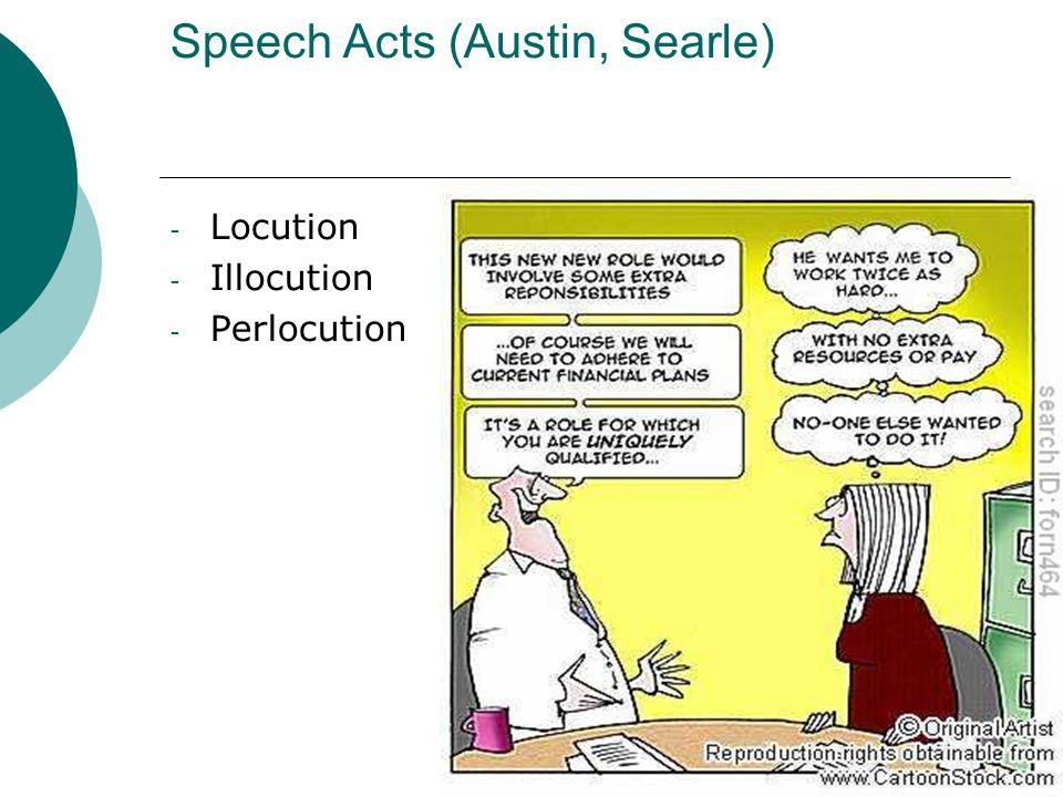 Speech Acts (Austin, Searle) - Locution - Illocution - Perlocution