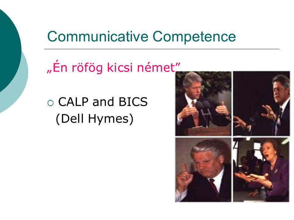 """Communicative Competence """"Én röfög kicsi német""""  CALP and BICS (Dell Hymes)"""