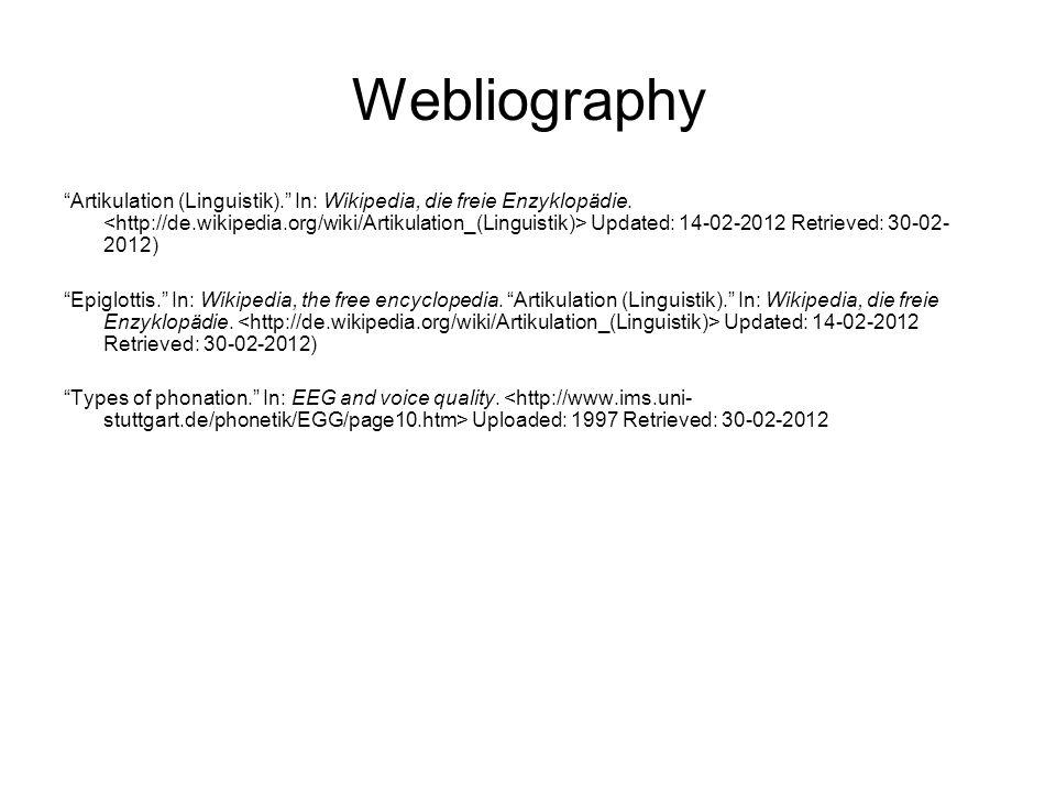 Webliography Artikulation (Linguistik). In: Wikipedia, die freie Enzyklopädie.