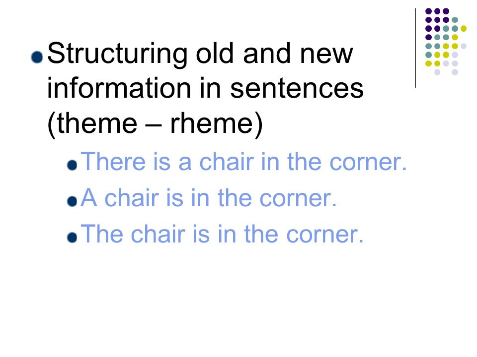 Structuring old and new information in sentences (theme – rheme) There is a chair in the corner.
