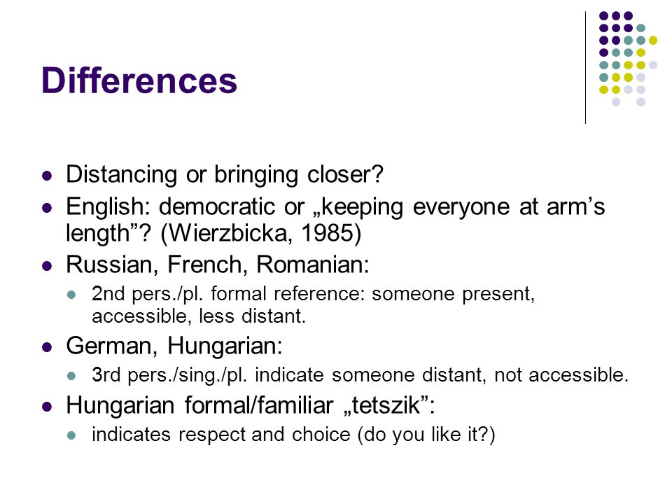 Differences Distancing or bringing closer.
