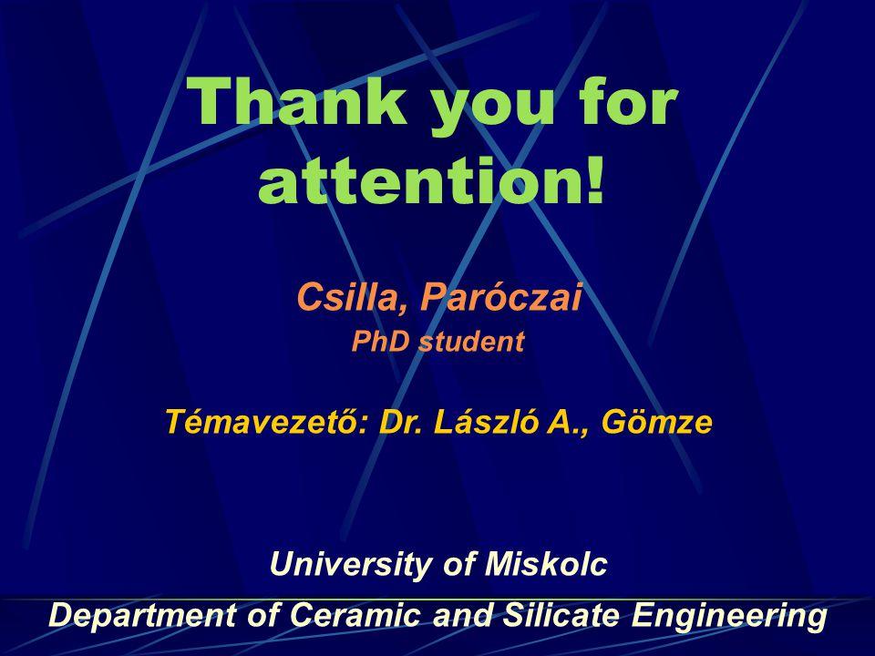 Thank you for attention. Csilla, Paróczai PhD student Témavezető: Dr.