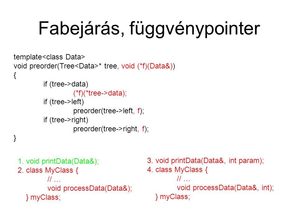 Fabejárás, STL funktor Hátrány: mindig új típust (osztályt) kell létrehozni egy operator()(Data&) művelettel template void preorder(Tree * tree, Functor f) { if (tree->data) f(*tree->data); if (tree->left) preorder(tree->left, f); if (tree->right) preorder(tree->right, f); } struct printDataFunctor { void operator()(Data& d) { printData(d); } };