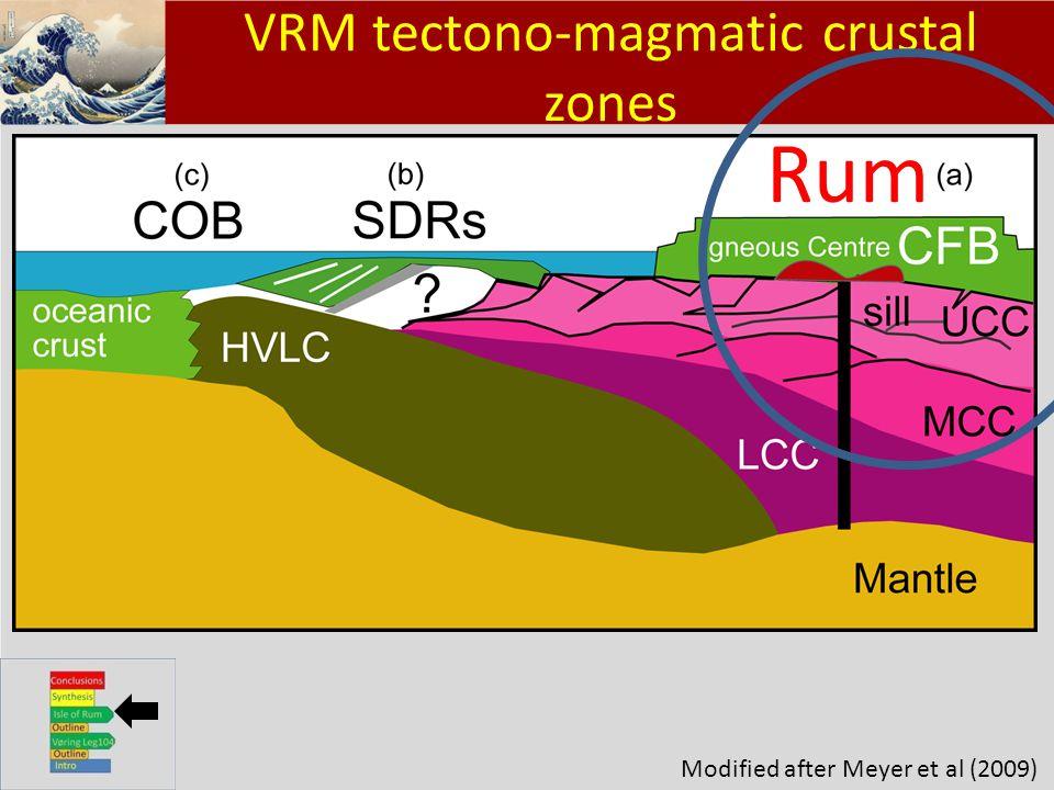 Klik om het opmaakprofiel te bewerken Klik om de opmaakprofielen van de modeltekst te bewerken – Tweede niveau Derde niveau – Vierde niveau » Vijfde niveau 12 VRM tectono-magmatic crustal zones Modified after Meyer et al (2009) Rum